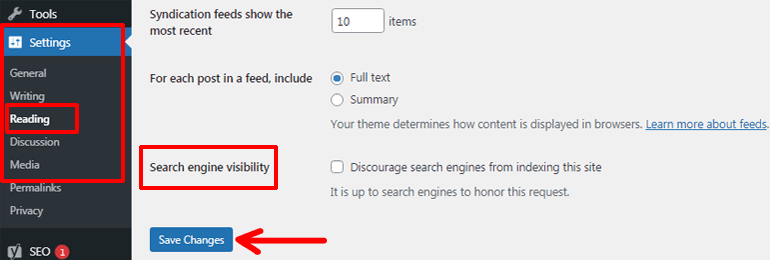 Checking Site's Search Engine Visibility Option