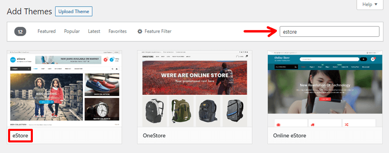 Search eStore Theme for your Online Store