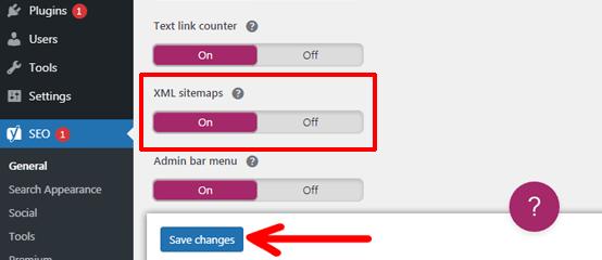 Toggle on the XML Sitemap Option