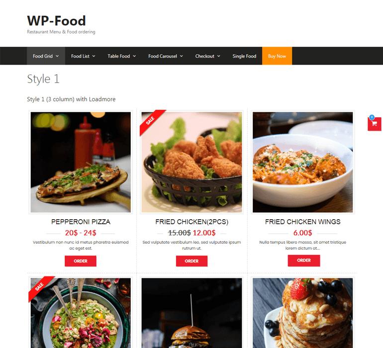 WP Food Pro Demo