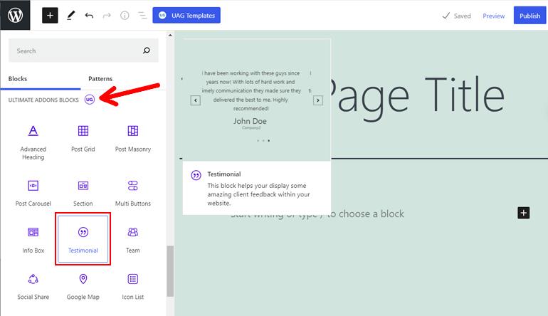 WordPress Blocks by Ultimate Addons for Gutenberg Plugin
