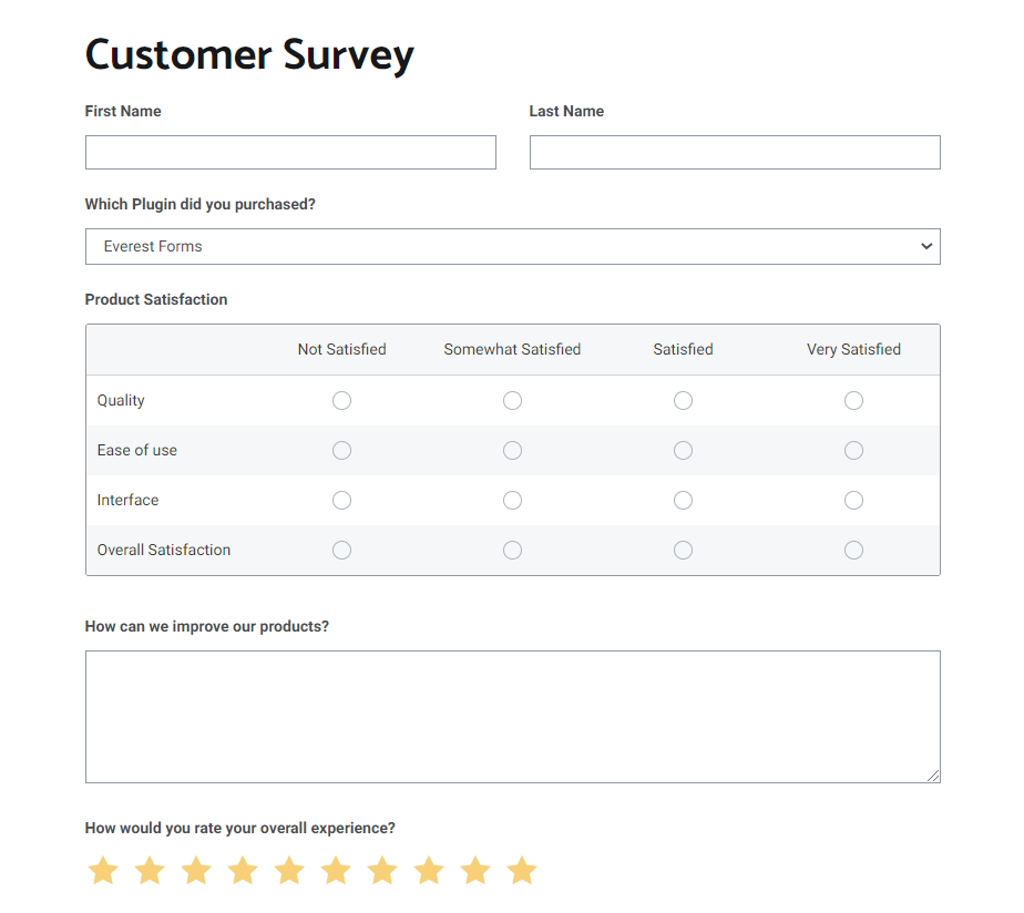 Customer Survey Form Example