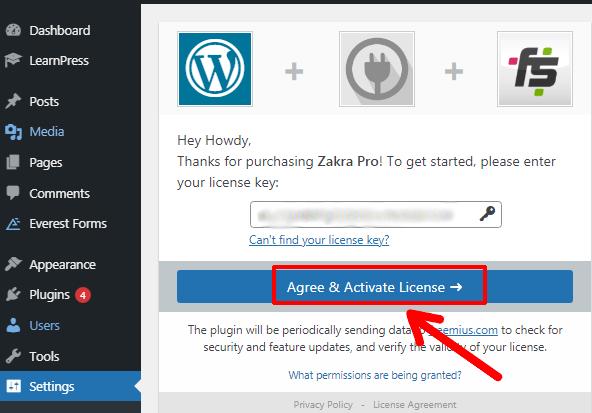 Enter License Key to Activate Zakra Pro