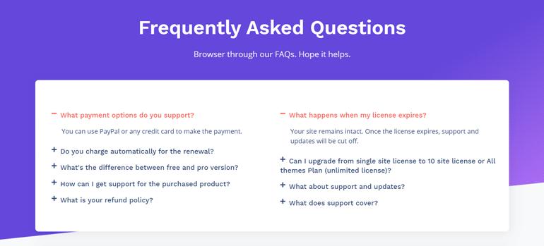 FAQ Section on ThemeGrill (FAQ Example)