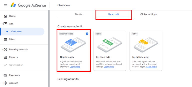 Create Display Ads Place in WordPress