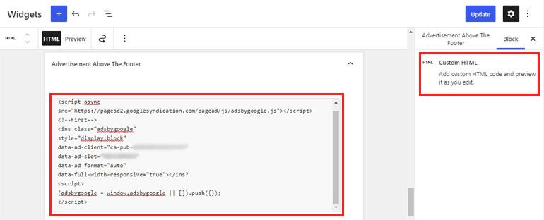 Paste in Custom HTML Block
