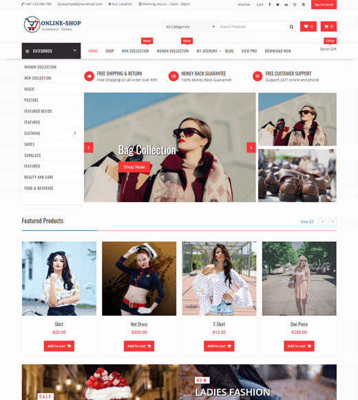 Online Shop Free WordPress Theme and Template
