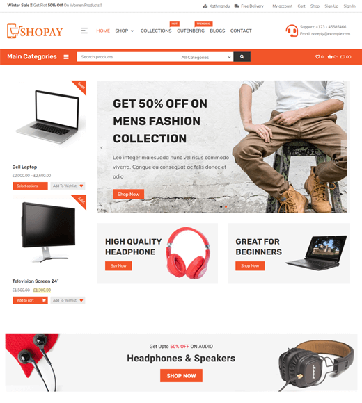 Shopay WordPress Online Shop Template Free
