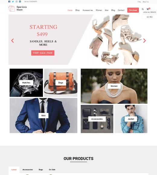 Spacious Free eCommerce WordPress Theme