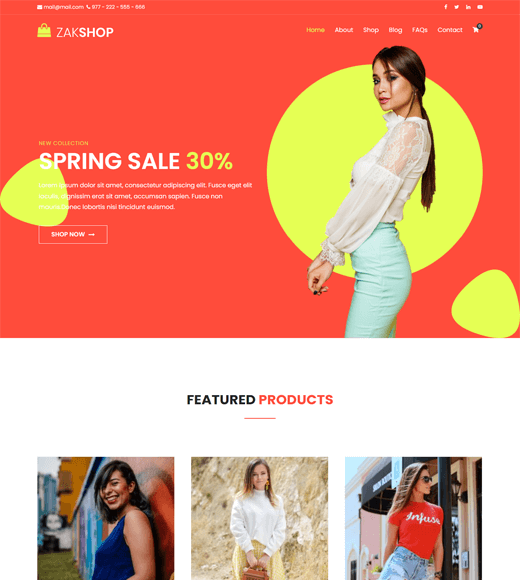 Zakra Shop Free eCommerce WordPress Theme
